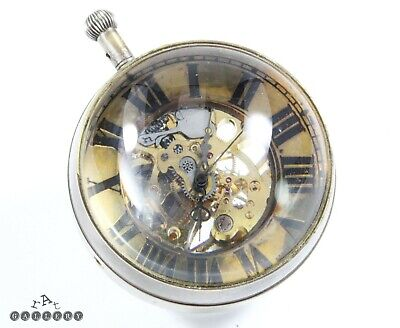 Antique Swiss Glass / Crystal Ball Skeleton Desk Clock  Spares / Repair