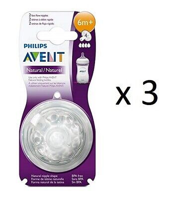 Philips AVENT BPA Free Natural Fast Flow Nipples, 2 ct (3 Pack)