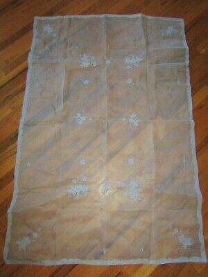 "Vtg Madeira? Sheer Cotton Organdy Embroidered Tablecloth 62"" X 41.5 Blue"