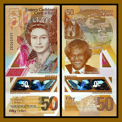 East Caribbean 50 Dollars, 2019 P-New First Polymer QEII About Uncirculated (AU)