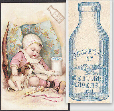 Illinois Condensing Milk Bottle 1891 Borden Eagle Jar Infant Nurser Trade Card