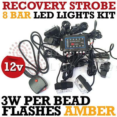 LED EMERGENCY STROBE LIGHT AMBER RECOVERY BREAKDOWN FLASHING BEACON 3W per BEAD!