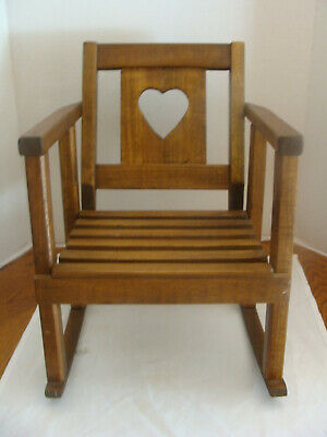Vtg Hand Crafted Solid Wood Child's Or Doll Rocking Chair W/heart & Slat Seat