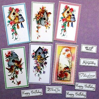 New Larger Card Toppers X 6 Very Cute Birds & Birdhouses With Sentiments