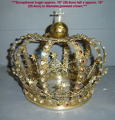 Magnificent French Antique Huge Religious Jeweled Santos Crown Couronne Royale.