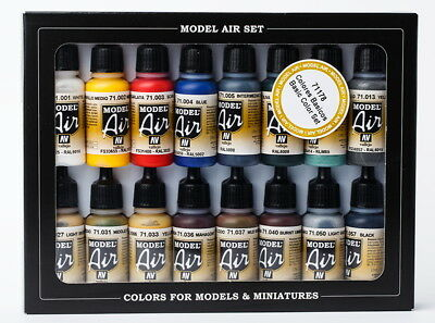 Vallejo Acrylic Model Air Colour Paint Set - Basic Colours (16 x 17ml)