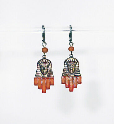 Vintage 20's ART DECO syle EGYPTIAN MASK~Carnelian Stepped GLASS EARRINGS!