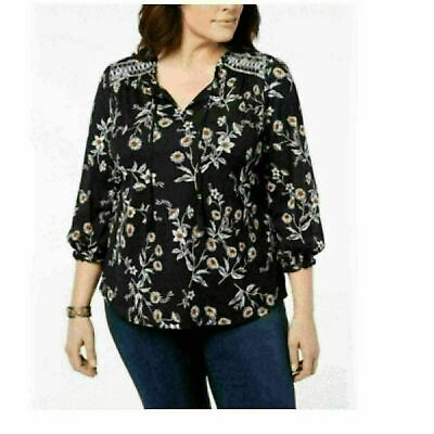 Style & Co Womens Printed Plus Embroidered Peasant Top Calico Black Floral 0X