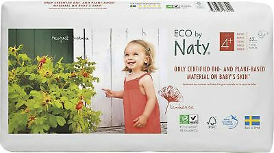 Eco by Naty - Premium Disposable Nappies for Sensitive Skin, Size 4+, 2 Packs...
