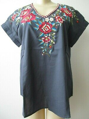 KYLA SEO GRAY FLORAL DESIGN EMBROIDRED SHORT SLEEVE TOP SIZE S NWT