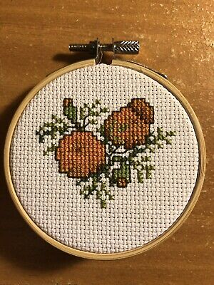 "Finished 3"" Cross Stitch Flower / Completed Embroidery/ Needlepoint"