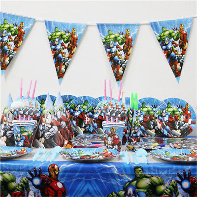 Avengers Superheroes Birthday Party  Tableware Decorations Banner Tablecloth