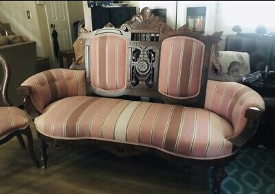 Sofa Settee Antique Couch and 2 Chairs Carved Wood! Beautiful! Pink like colors.