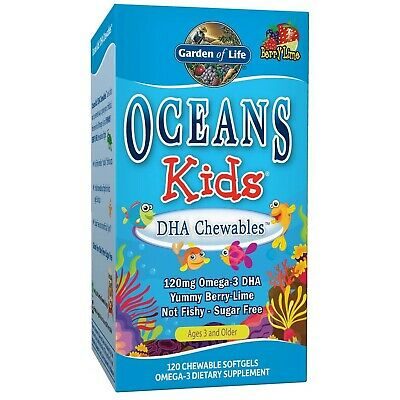 Garden of Life Oceans Kids DHA Chewables Omega-3, Berry Lime - 120 chewable s...