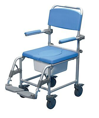 Days Deluxe Wheeled Shower Commode Chair, Attendant Propelled, Padded Bathing...