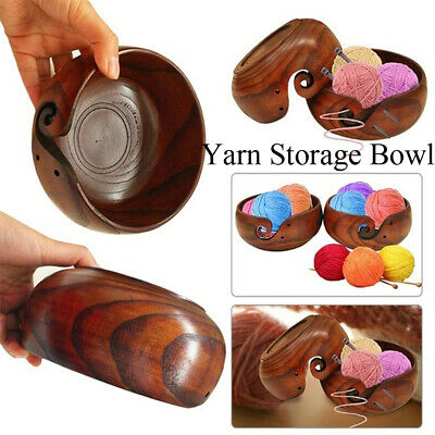 Crafts Organizer Knitting Yarn Storage Bowl Needlework Crochet Tool Wooden Box