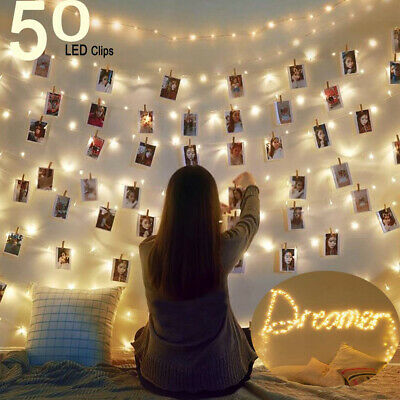 20/50/100 LED Hanging Picture Clip String Fairy Lights Peg Window Party Home Der