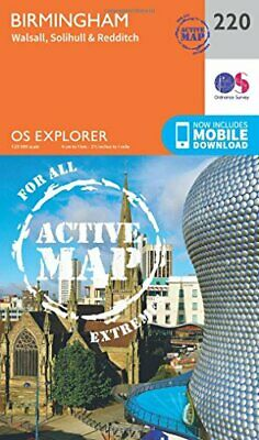 OS Explorer Map Active (220) Birmingham, Walsall, Solihull... by Ordnance Survey