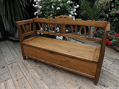 Fabulous! Old Antique Pine Hungarian Box/ Storage Bench/ Settle - We Deliver!
