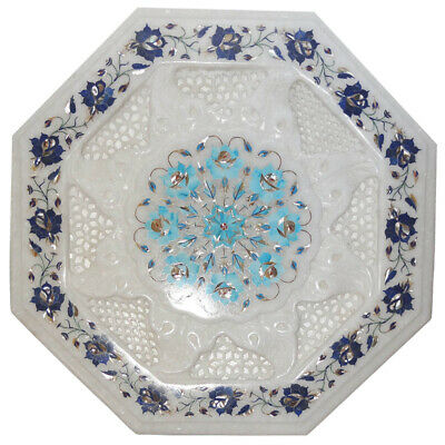 Antique Marble Decorative Plate Lapis Lazuli Malachite Fine Inlay Floral Gift