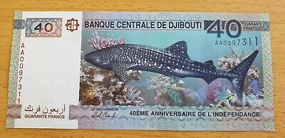 DJIBOUTI 40 Francs 2017 P New 40th Anniv Independence Prefix AA UNC Banknote