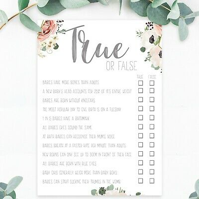 Baby Shower Games True or False Trivia Quiz Boy Girl Unisex Boho Tea Party Mum