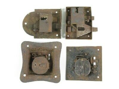 XIX Century Lot of 4 Ancient Locks Iron for Gates or Sheds