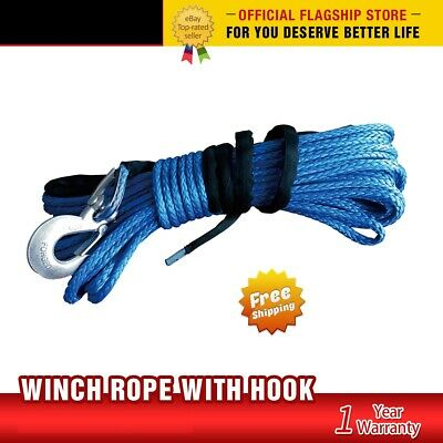 Winch Rope Dyneema SK75 10MM x 30M Hook Synthetic Car Tow Recovery Cable
