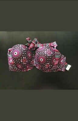 asda padded underwired bra with rose sparkle effect and bow size 34a-40f bnwot