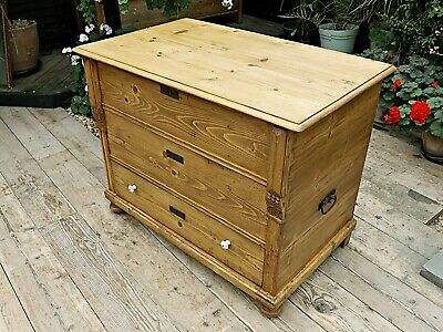 Big! Old Antique Pine Blanket Box/ Drawer! Mule Chest/Trunk/Storage. We Deliver!