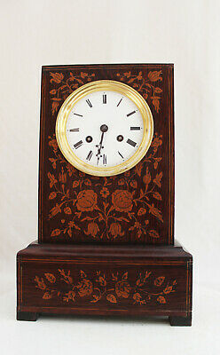 Antique French Empire Clock Marquetry Decorated 1845