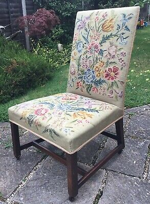 Old Vintage Edwardian Floral Needlepoint Embroidery Country House Cottage Chair