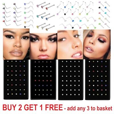Nose Stud Ring Silver I L Shape Set Gold Clear Screw Ball End Surgical Steel Box