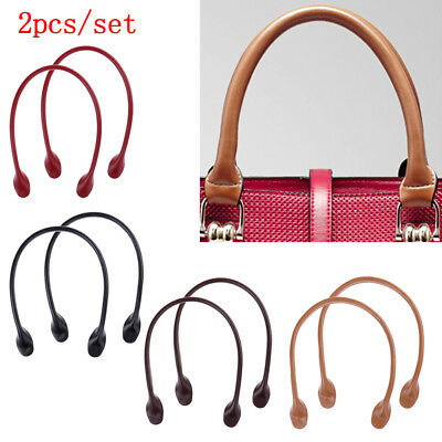1Pair Leather Handles for Handbag DIY Bag Accessories Short Straps Sewing Craft^