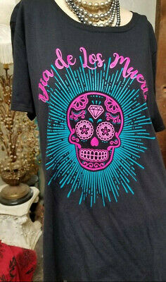 Dia De Los Muertos Black Tee 2X New With Tags Black Mexico Day of The Dead