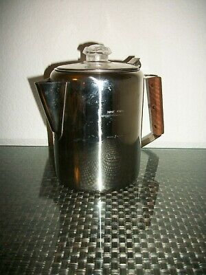 Stansport Stainless Steel Coffee Pot Percolator 9 Cup Flip Top Wood Handle Stove