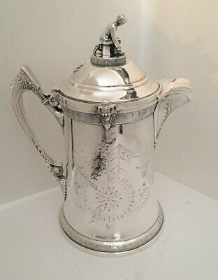 Antique Reed & Barton Ice Water Pitcher Silverplate Ice Skater Lined Stone China