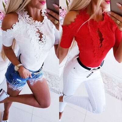 Womens Hollow Out Lace Bodycon T-Shirt Summer Fashion Casual Party Blouse Top H