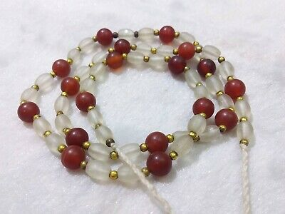 Lovely Necklace with Roman Old Beautiful Agate / Crystal Beads Vintage Afghani