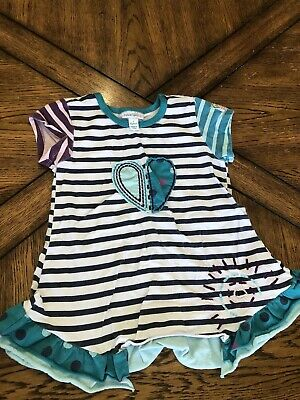Girl Naartjie Shirt Size Large L 6 Years Striped Top Patchwork Heart