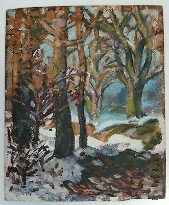 Vintage Moody Winter Forest Oil Painting on Board Signed by N. Barnes UNFRAMED