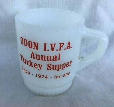 1974 Fire King Advertising Coffee Cup Mug ODON INDIANA Volunteer Fire Dept IVFA