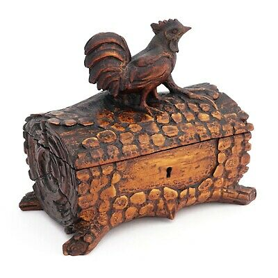 Antique Black Forest Hand Carved Wood Jewelry Box Country Rooster Farmhouse