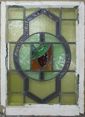 "MIDSIZE OLD ENGLISH LEADED STAINED GLASS WINDOW Bordered Abstract 21"" x 28.75"""