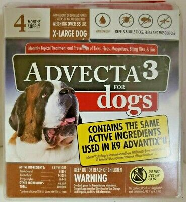 Advecta 3 Flea and Tick Treatment for XL Dogs 55LBS - 4 Month Supply Sealed New