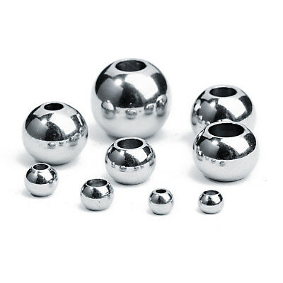 Bulk! Stainless Steel Silver Big Hole Round Spacer Beads 4/6/8/10MM DIY Jewelry