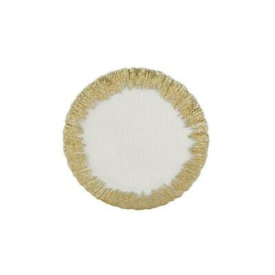 Mud Pie Clear Glass Serving Platter with Drizzled Gold Edge
