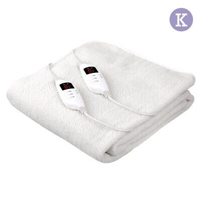 Giselle Bedding Electric Blanket King Size Heated Washable Timer Fitted Fleecy