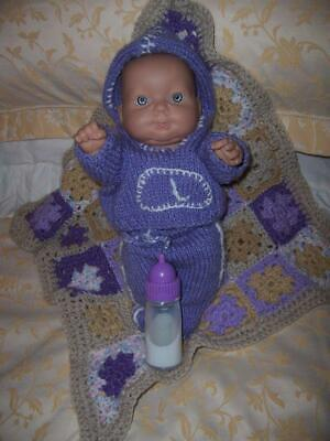 Berenguer Baby Doll Vinyl Body Knitted Outfit Crocheted Blanket Cry Bottle