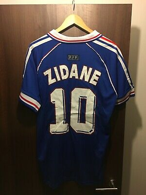 sports shoes f5ac5 3d5b7 ZIDANE 1998 WORLD Cup Football Shirt Soccer Jersey France Retro Large L